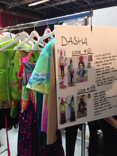 Look boards for the Dressers backstage at Manish Arora FW14