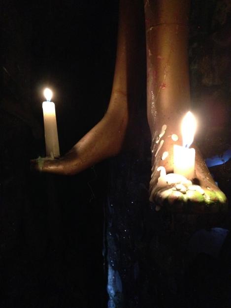Mannequin foot candelabra