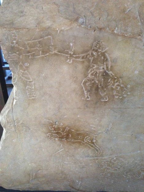 Carvings depicting exotic animals attacking the fighters during the Games at the Colosseum